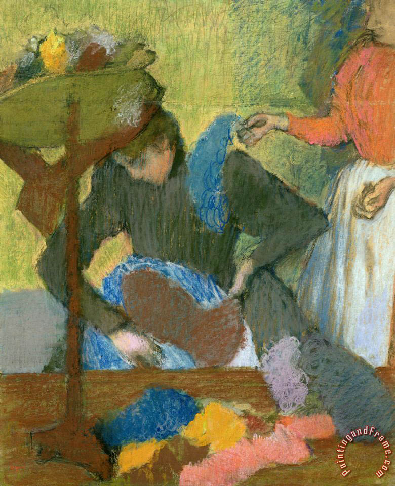 At the Hat Maker painting - Edgar Degas At the Hat Maker Art Print