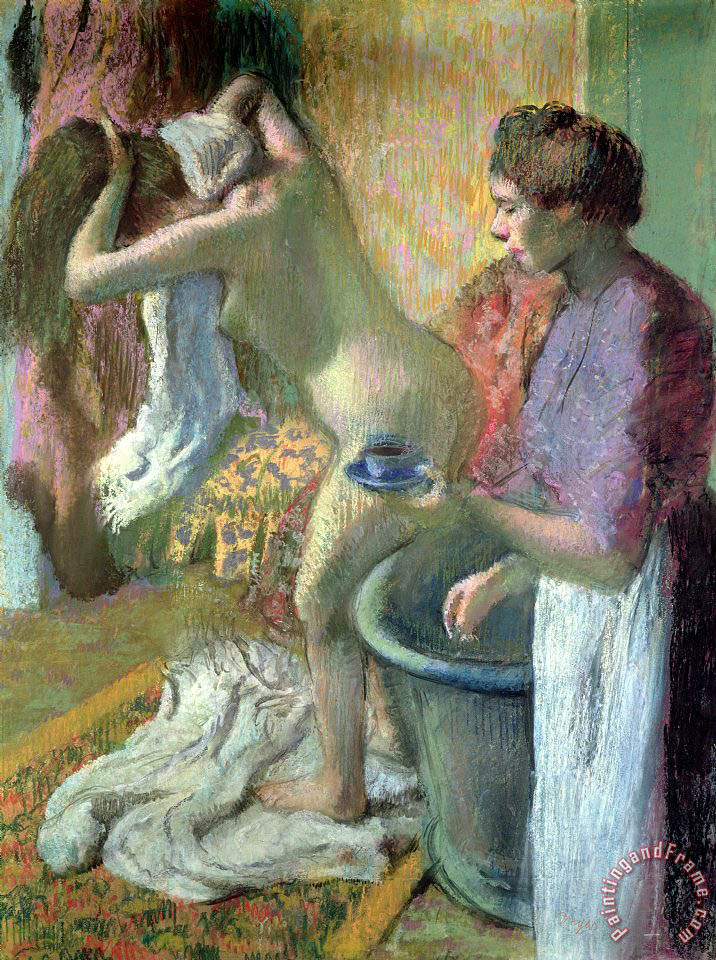 Breakfast after a Bath painting - Edgar Degas Breakfast after a Bath Art Print