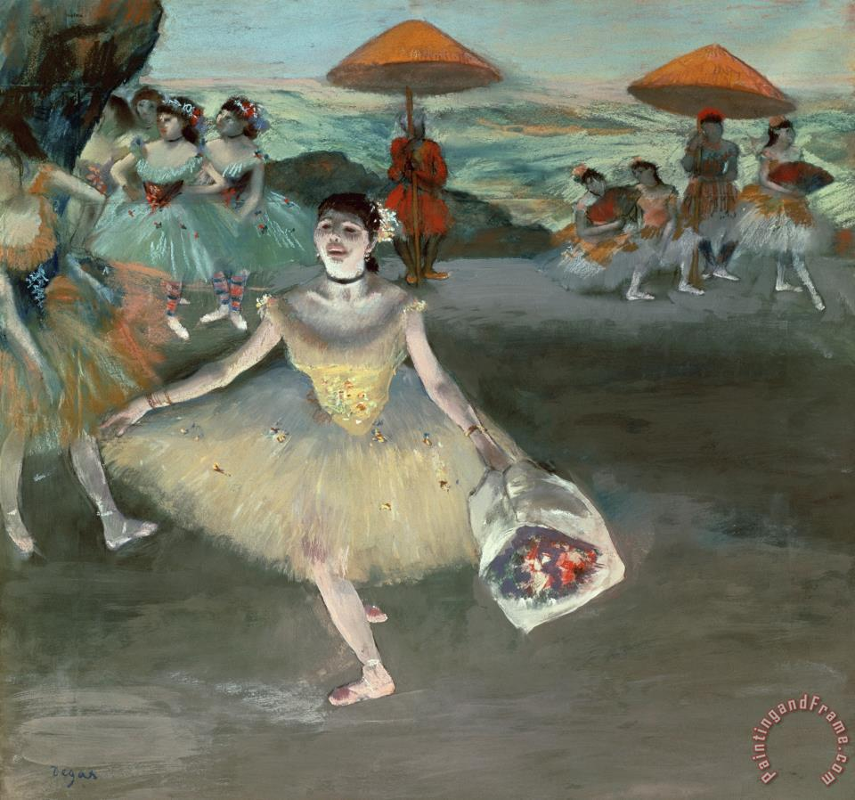edgar degas dancer with bouquet curtseying painting dancer with bouquet curtseying print for. Black Bedroom Furniture Sets. Home Design Ideas