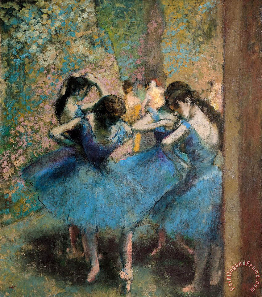Dancers in blue painting - Edgar Degas Dancers in blue Art Print