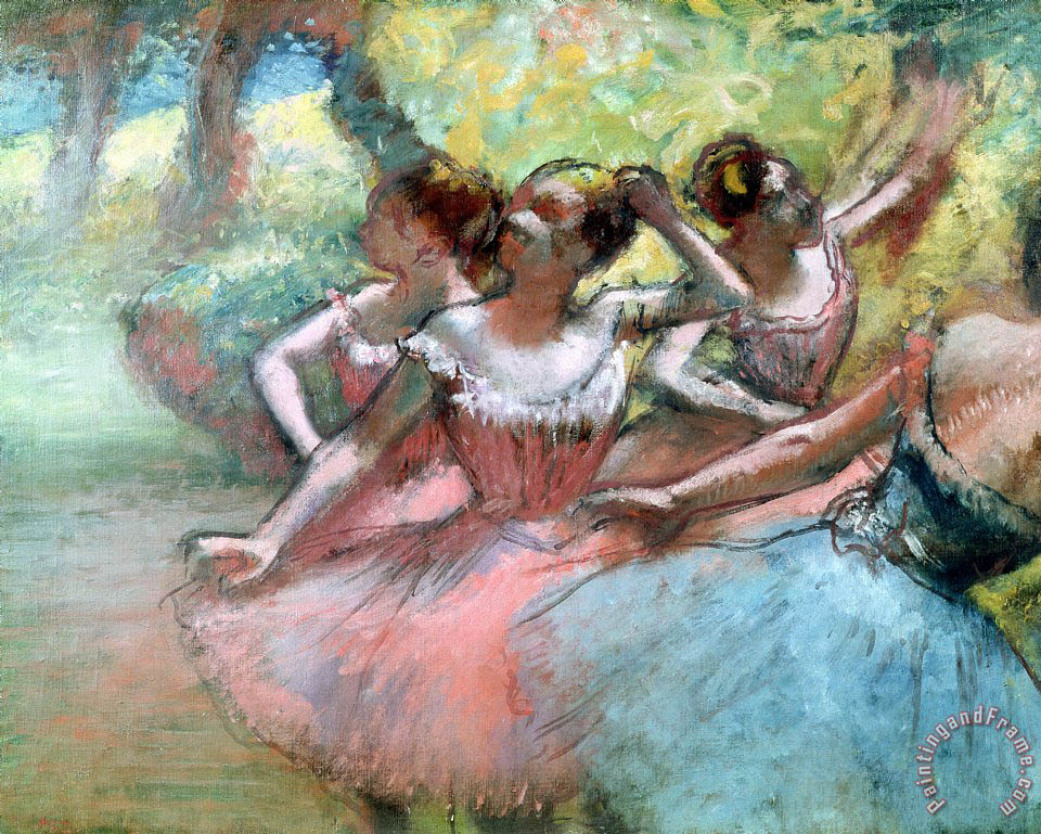 Four ballerinas on the stage painting - Edgar Degas Four ballerinas on the stage Art Print