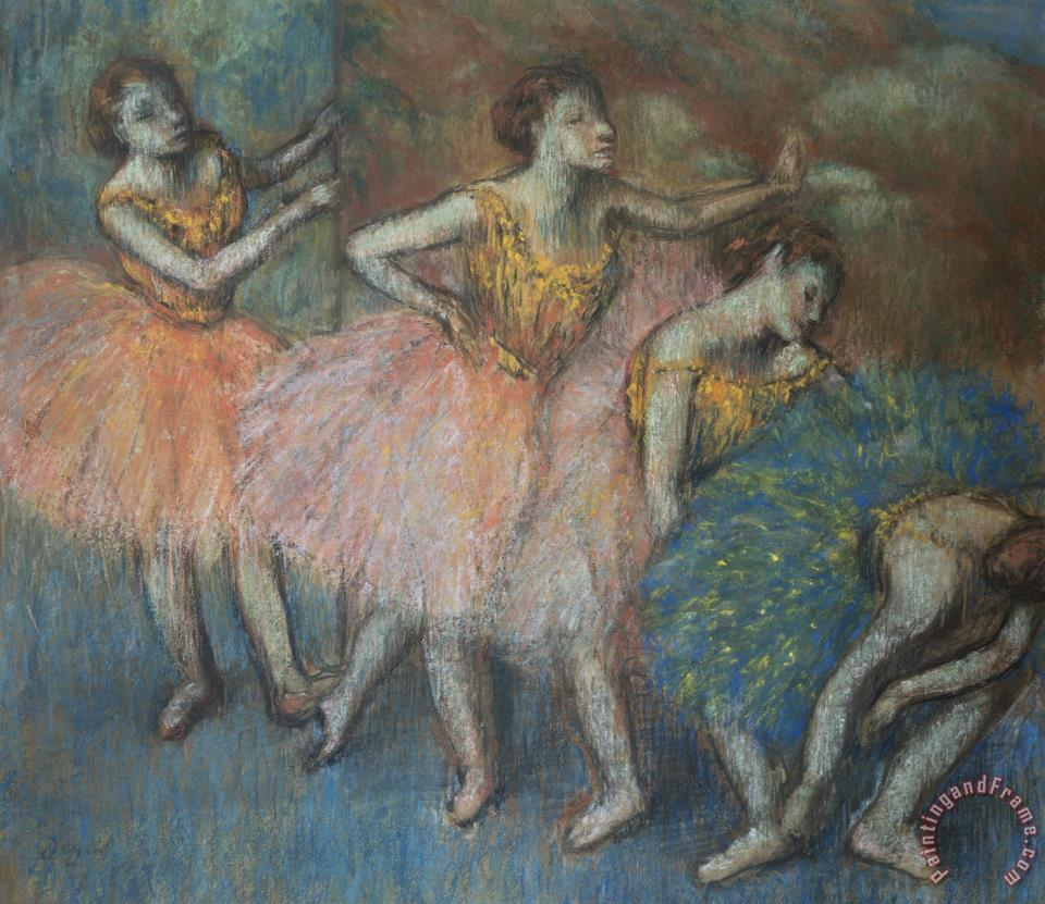 Green And Yellow Dancers painting - Edgar Degas Green And Yellow Dancers Art Print