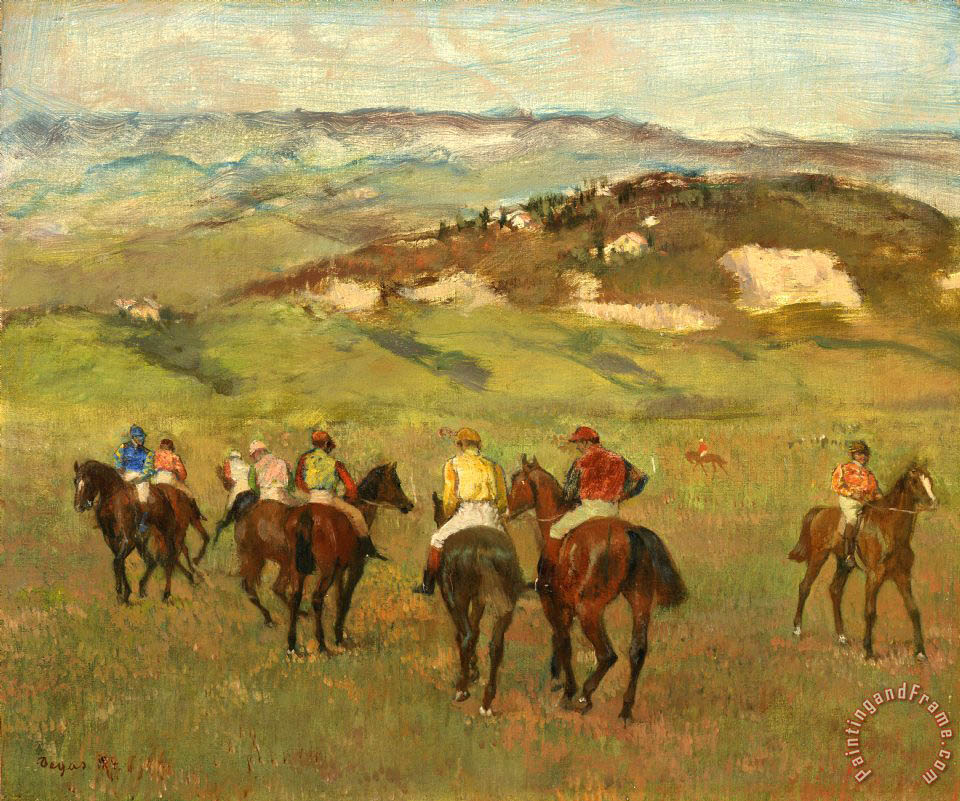 Jockeys on Horseback before Distant Hills painting - Edgar Degas Jockeys on Horseback before Distant Hills Art Print