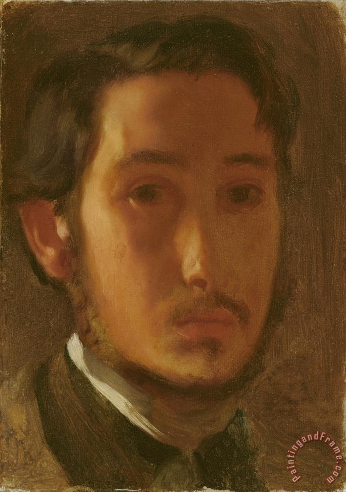 Self Portrait with White Collar painting - Edgar Degas Self Portrait with White Collar Art Print