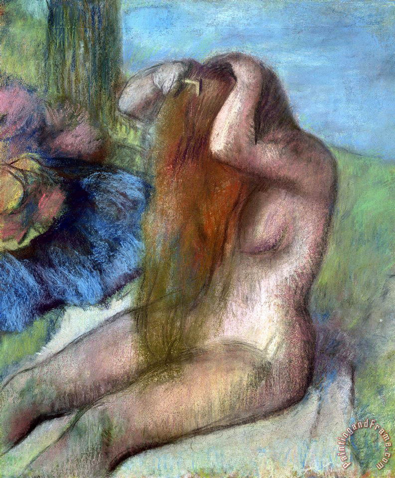 Edgar Degas Woman doing her Hair Art Print