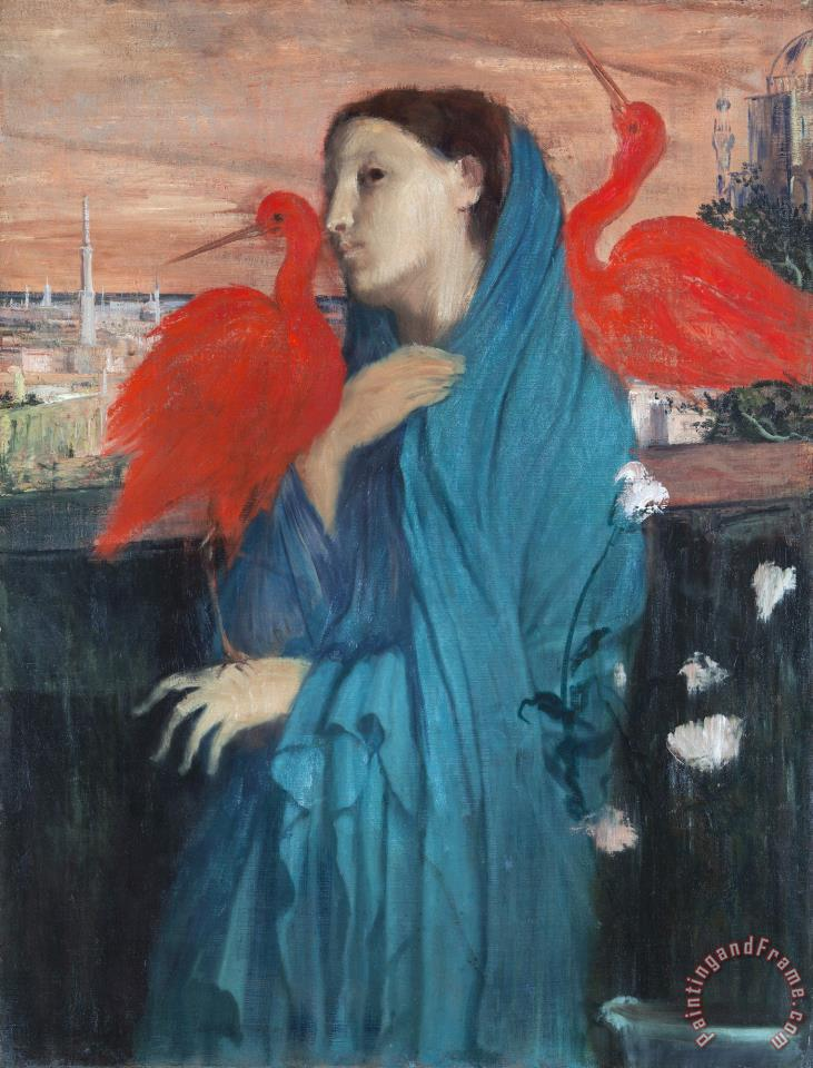 Young Woman with Ibis painting - Edgar Degas Young Woman with Ibis Art Print