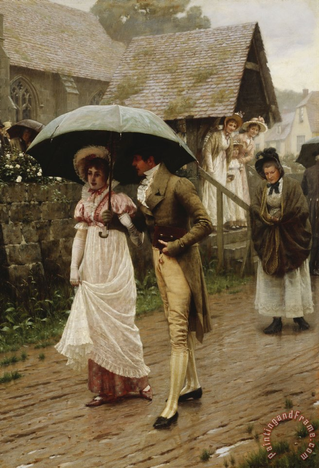 Edmund Blair Leighton A Wet Sunday Morning Art Print