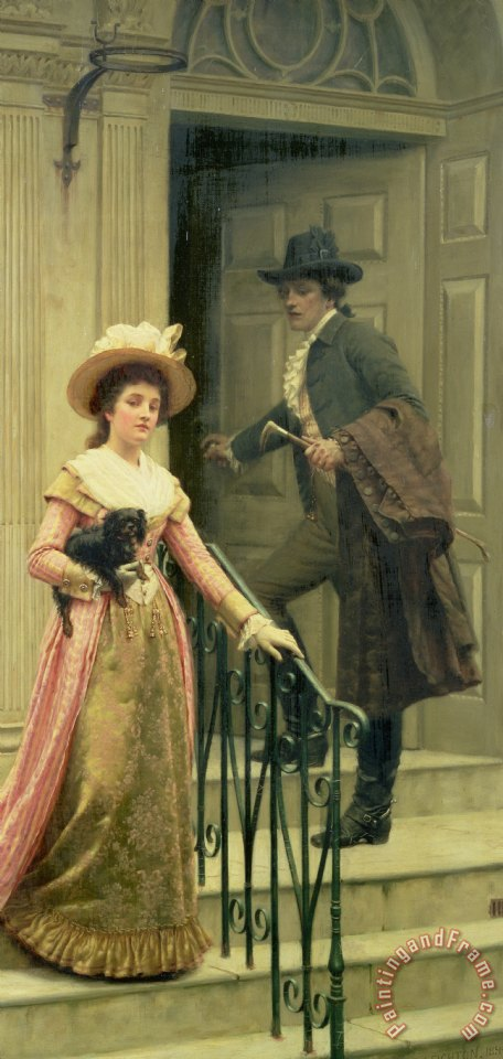 Edmund Blair Leighton My Next Door Neighbor Art Print