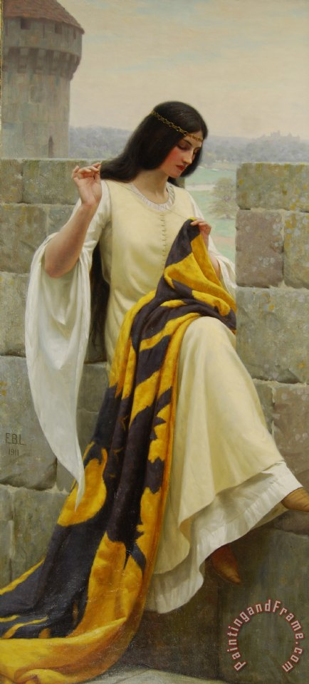 Stitching the Standard painting - Edmund Blair Leighton Stitching the Standard Art Print
