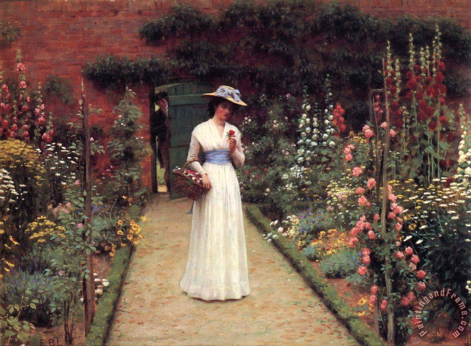 The Rose Garden painting - Edmund Blair Leighton The Rose Garden Art Print