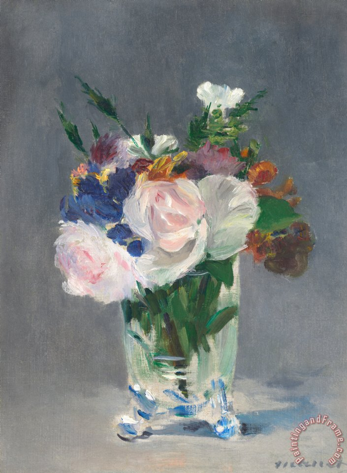 Flowers In A Crystal Vase painting - Edouard Manet Flowers In A Crystal Vase Art Print