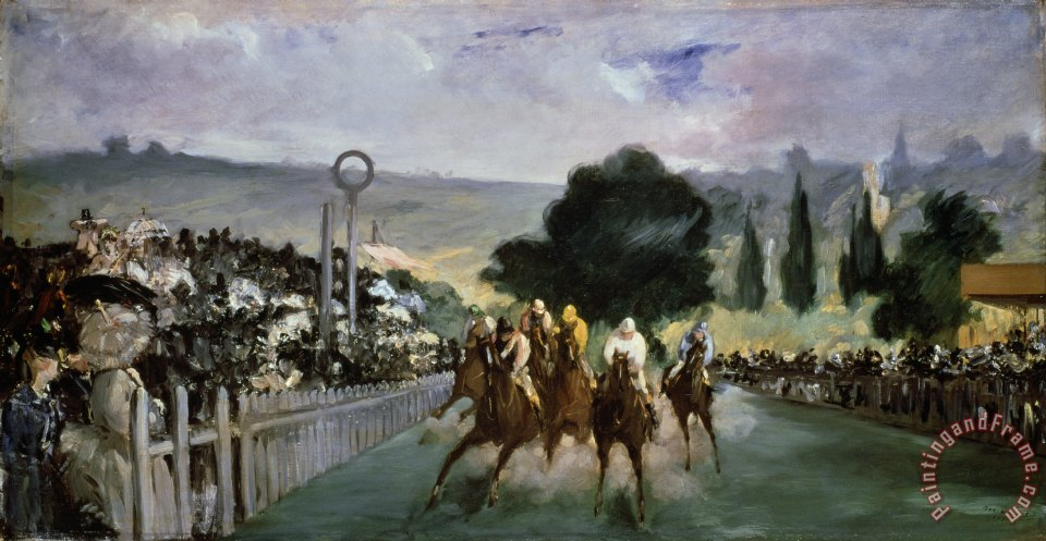 Races at Longchamp painting - Edouard Manet Races at Longchamp Art Print