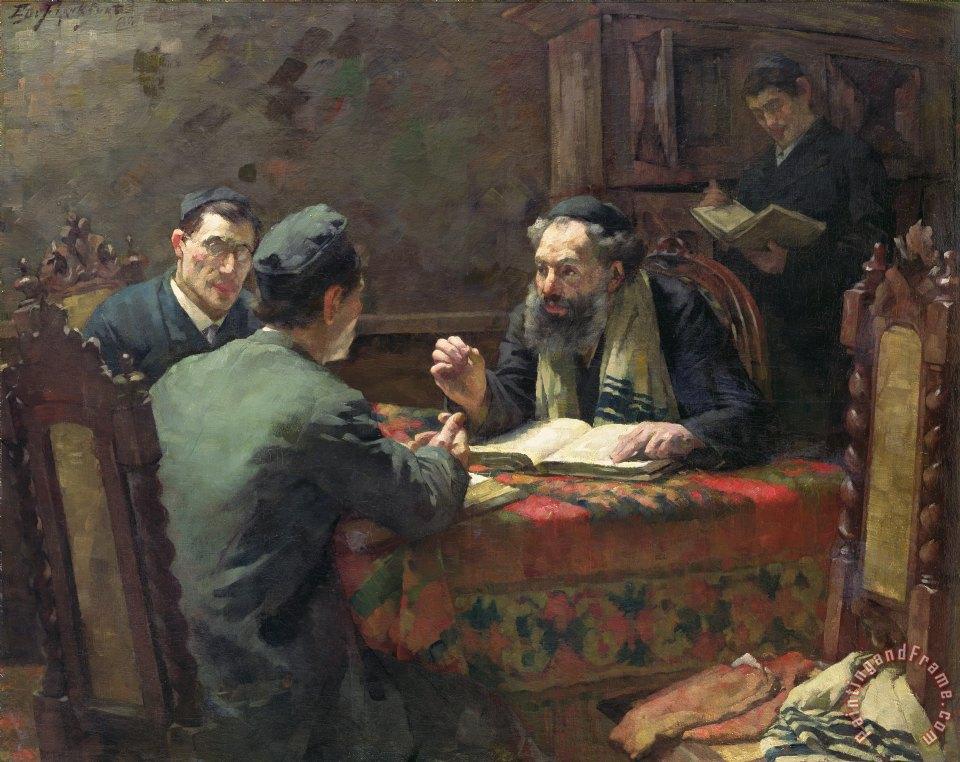 Eduard Frankfort A Theological Debate Painting A
