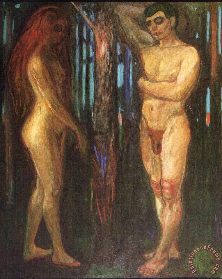 Adam And Eve 1918 painting - Edvard Munch Adam And Eve 1918 Art Print