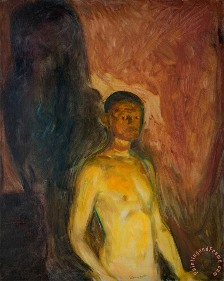 Self Portrait in Hell painting - Edvard Munch Self Portrait in Hell Art Print