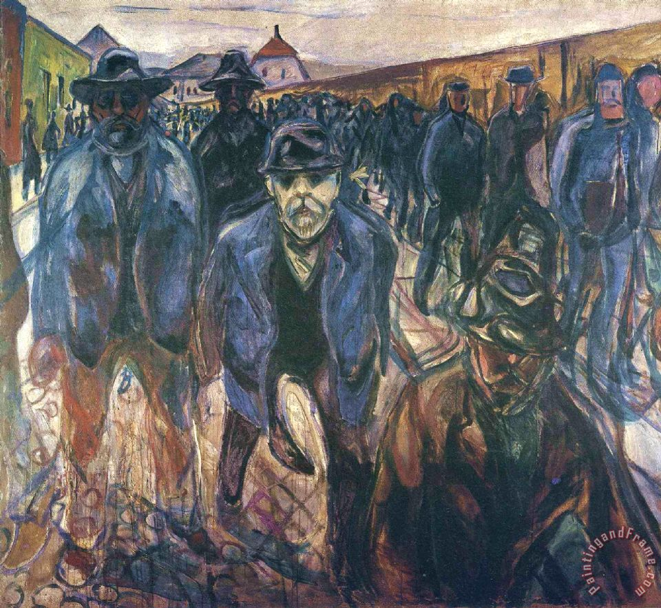 Workers on Their Way Home 1915 painting - Edvard Munch Workers on Their Way Home 1915 Art Print