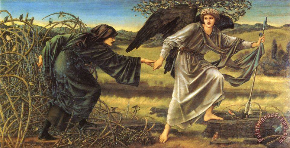 Romaunt of The Rose Love Leading The Pilgrim painting - Edward Burne Jones Romaunt of The Rose Love Leading The Pilgrim Art Print