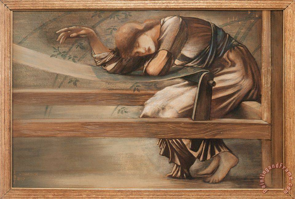 The Briar Rose Study for The Garden Court painting - Edward Burne Jones The Briar Rose Study for The Garden Court Art Print