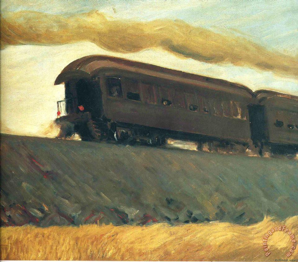 Railroad Train painting - Edward Hopper Railroad Train Art Print