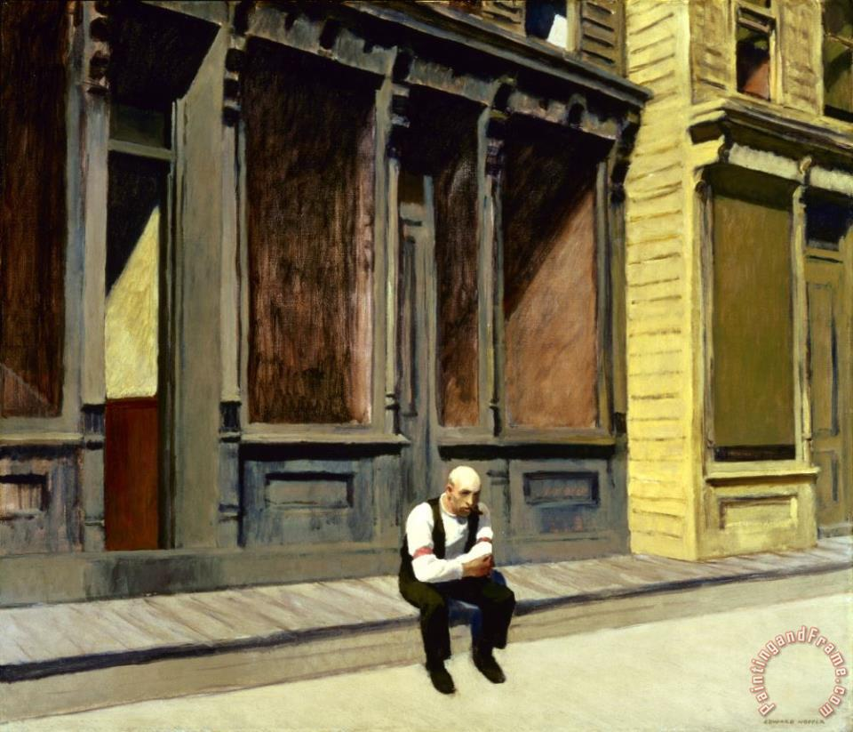 Sunday painting - Edward Hopper Sunday Art Print
