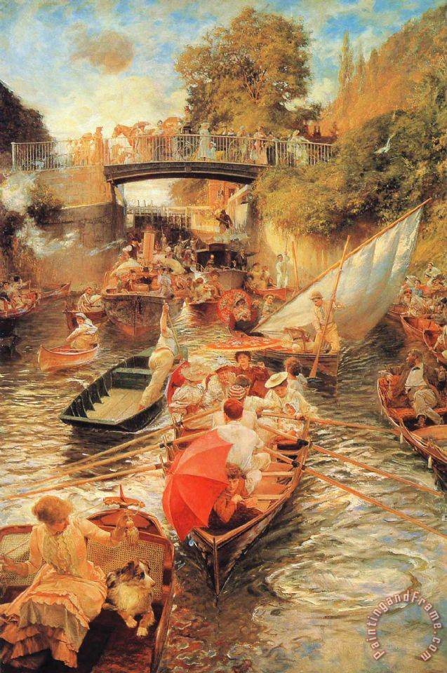 Boulter's Lock, Sunday Afternoon painting - Edward John Gregory Boulter's Lock, Sunday Afternoon Art Print