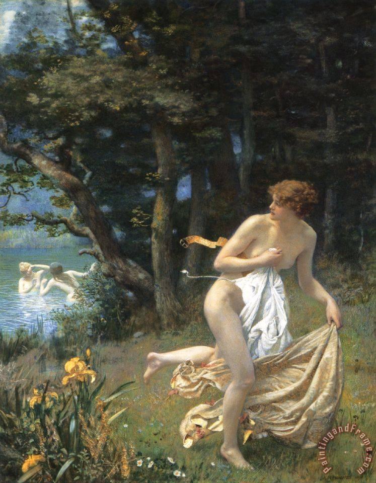 Edward Robert Hughes R W S Diana S Maidens Painting