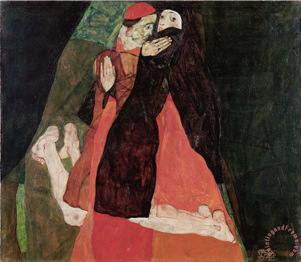 Cardinal And Nun (caress) painting - Egon Schiele Cardinal And Nun (caress) Art Print