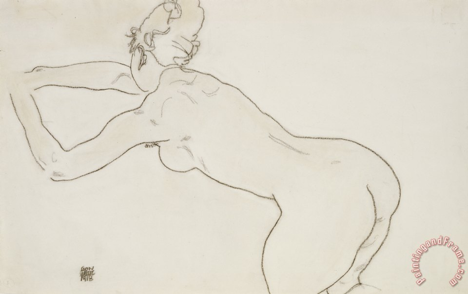 Female Nude Kneeling and Bending Forward to the Left painting - Egon Schiele Female Nude Kneeling and Bending Forward to the Left Art Print