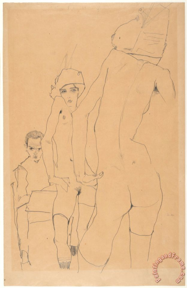 Egon Schiele Schiele with Nude Model Before The Mirror, 1910 Art Print