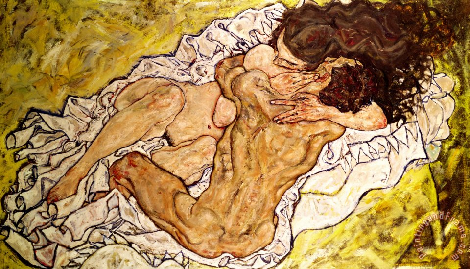 The Embrace painting - Egon Schiele The Embrace Art Print