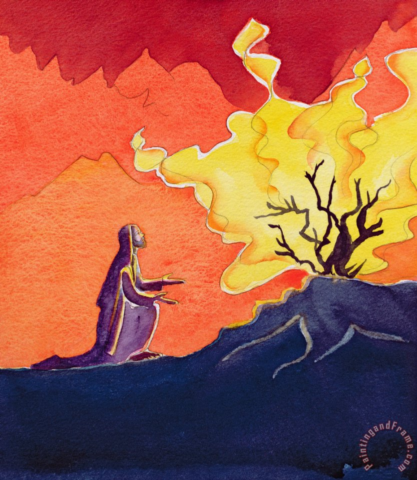 God speaks to Moses from the burning bush painting - Elizabeth Wang God speaks to Moses from the burning bush Art Print
