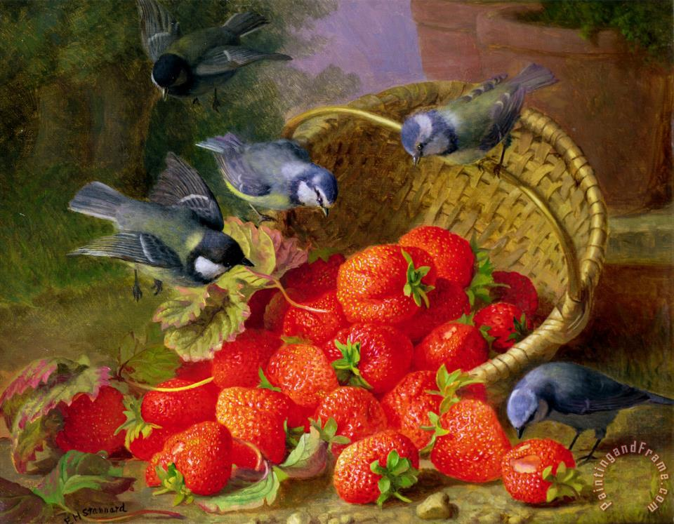 Still Life with Strawberries And Bluetits painting - Eloise Harriet Stannard Still Life with Strawberries And Bluetits Art Print