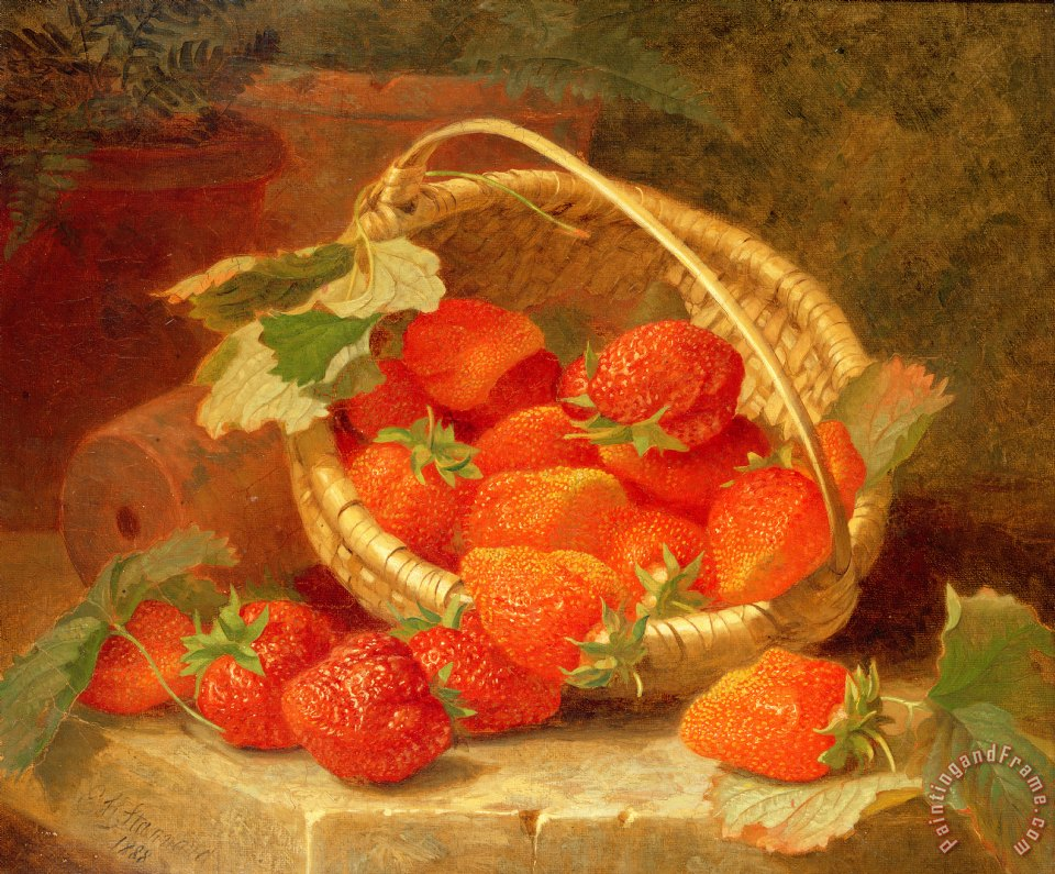 A Basket of Strawberries on a stone ledge painting - Eloise Harriet Stannard A Basket of Strawberries on a stone ledge Art Print