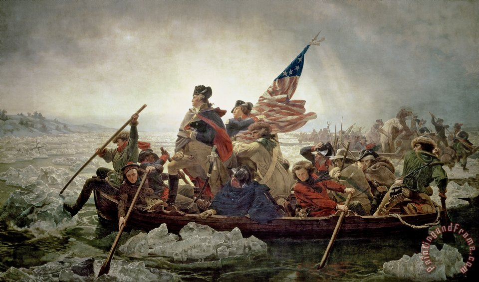 George Washington After The Battle Of Trenton Painting War Art Real Canvas Print