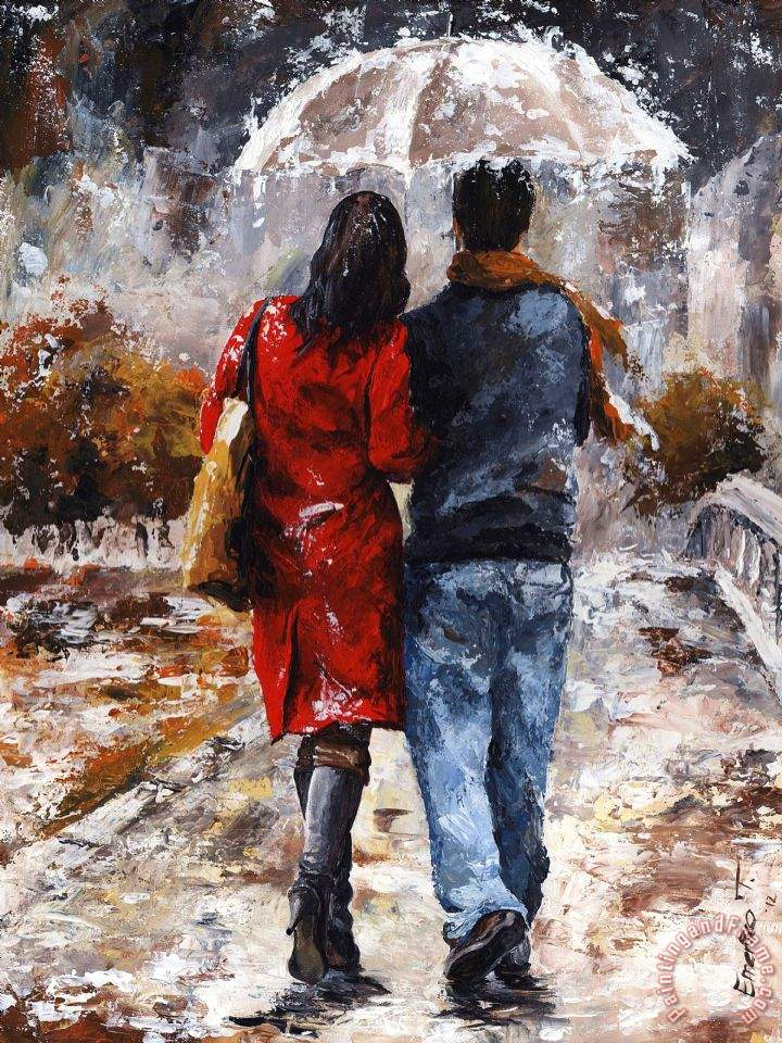 emerico toth rainy day walking in the rain art painting