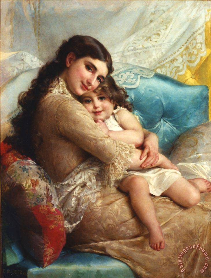 Portrait of a Mother And Daughter painting - Emile Munier Portrait of a Mother And Daughter Art Print