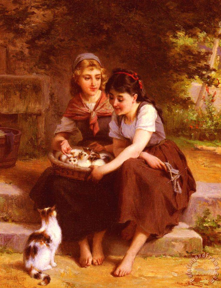 Emile Munier Two Girls with a Basket of Kittens Art Print