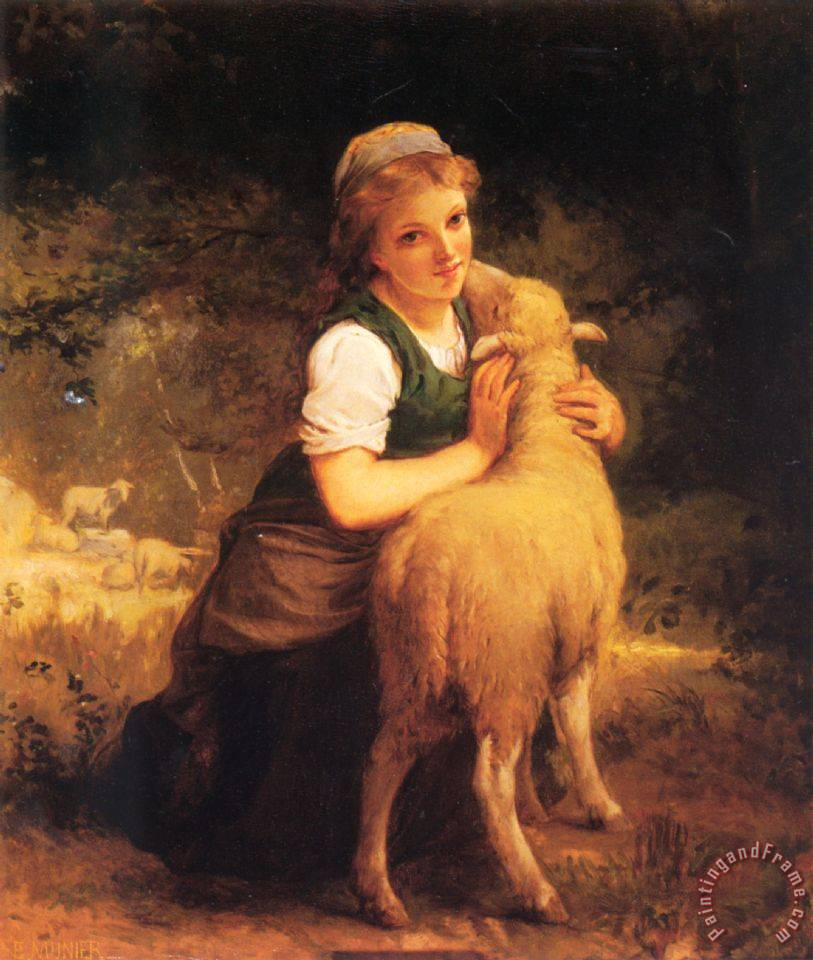 Young Girl with Lamb painting - Emile Munier Young Girl with Lamb Art Print
