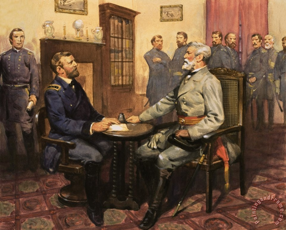 General Grant meets Robert E Lee painting - English School General Grant meets Robert E Lee Art Print