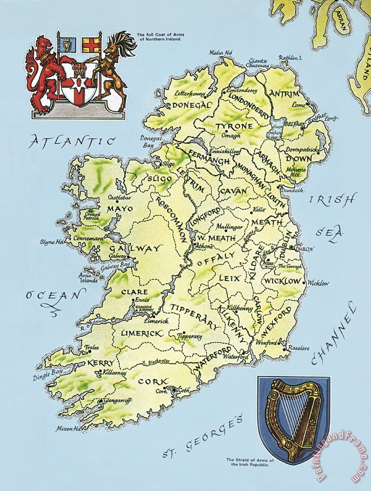 Map Of Ireland Print.English School Map Of Ireland Painting Map Of Ireland Print For Sale