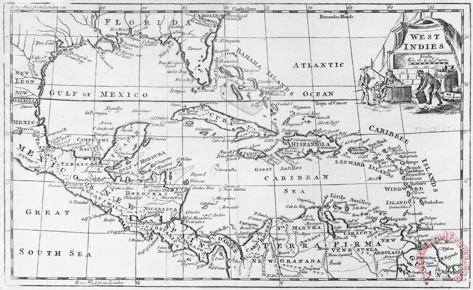 English School Map of the West Indies Florida and South America Art Painting