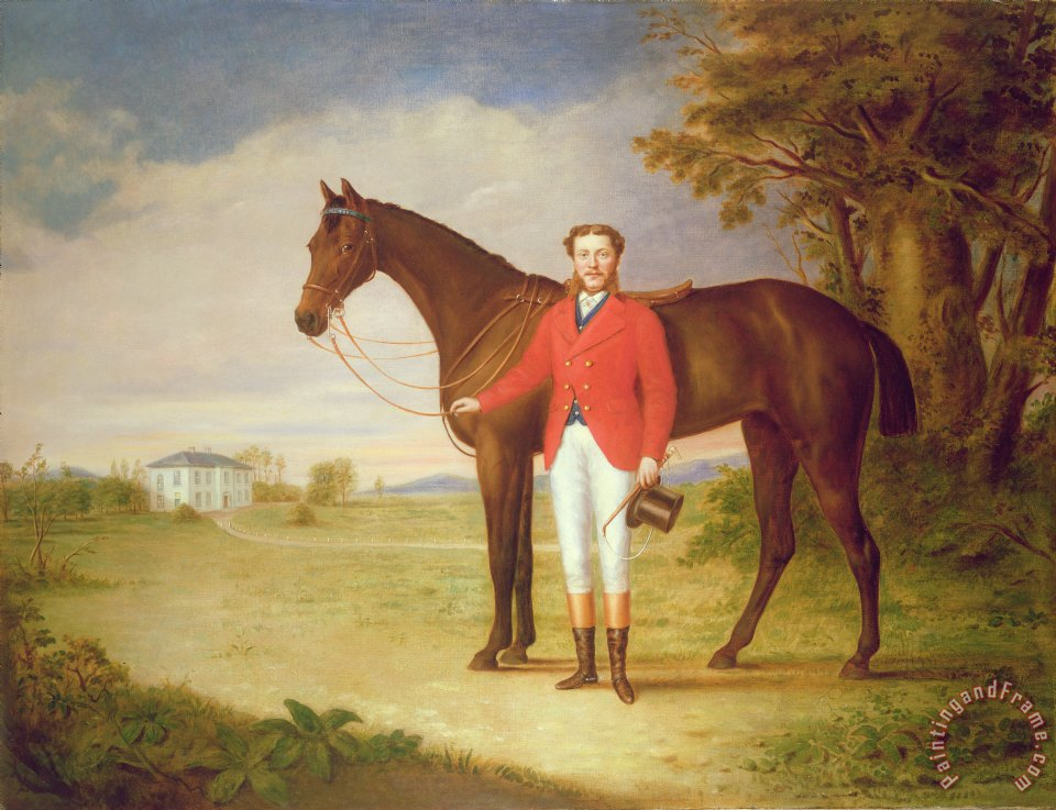 English School Portrait of a gentleman with his horse Art Painting