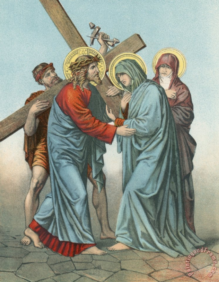 English School Station IV Jesus Carrying the Cross Meets his most Afflicted Mother Art Painting