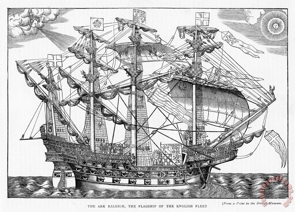 English School The Ark Raleigh The Flagship Of The English Fleet From Leisure Hour Art Print