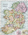 After School Prints - Irish Free State And Northern Ireland From Bacon S Excelsior Atlas Of The World by English School
