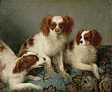 After School Prints - Three Cavalier King Charles Spaniels on a Rug by English School