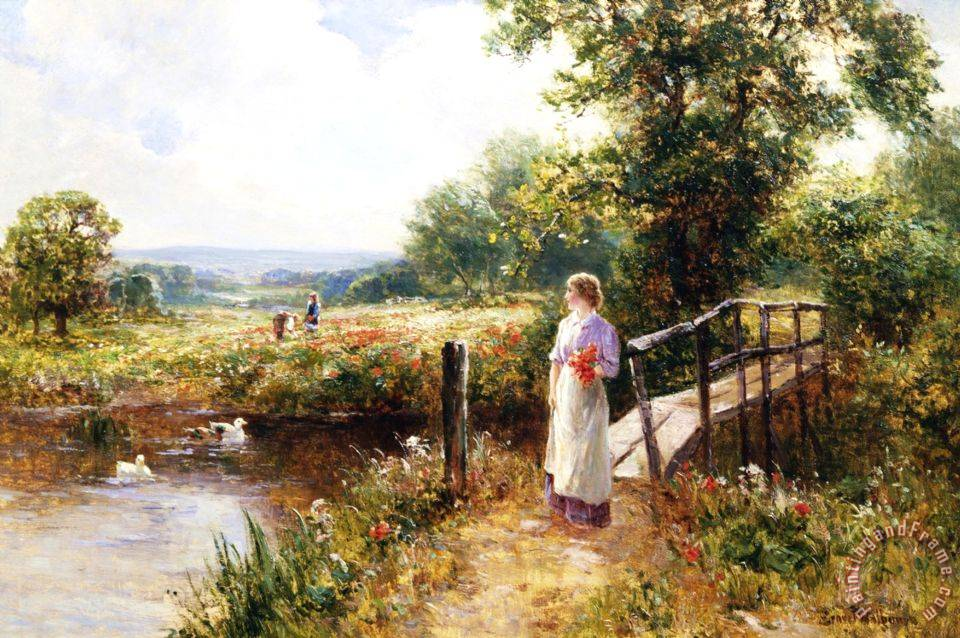 Ernest Walbourn Gathering Poppies Near Winchester England Art Painting
