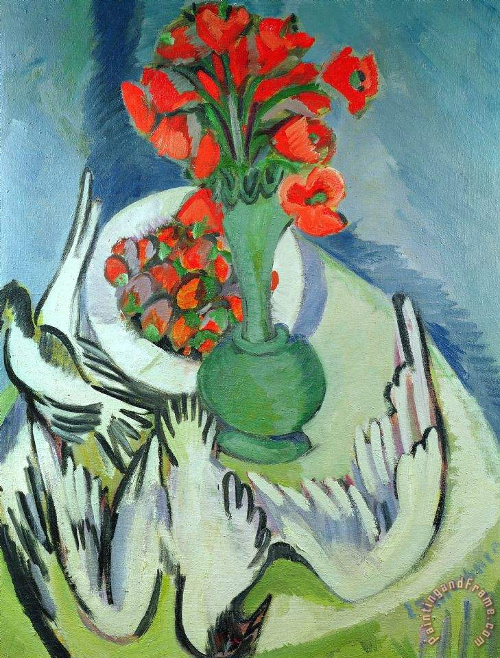 Ernst Ludwig Kirchner Still Life With Seagulls Poppies And Strawberries Art Print
