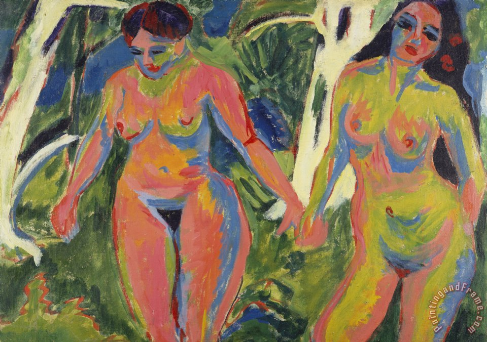 Ernst Ludwig Kirchner Two Nude Women In A Wood Art Painting