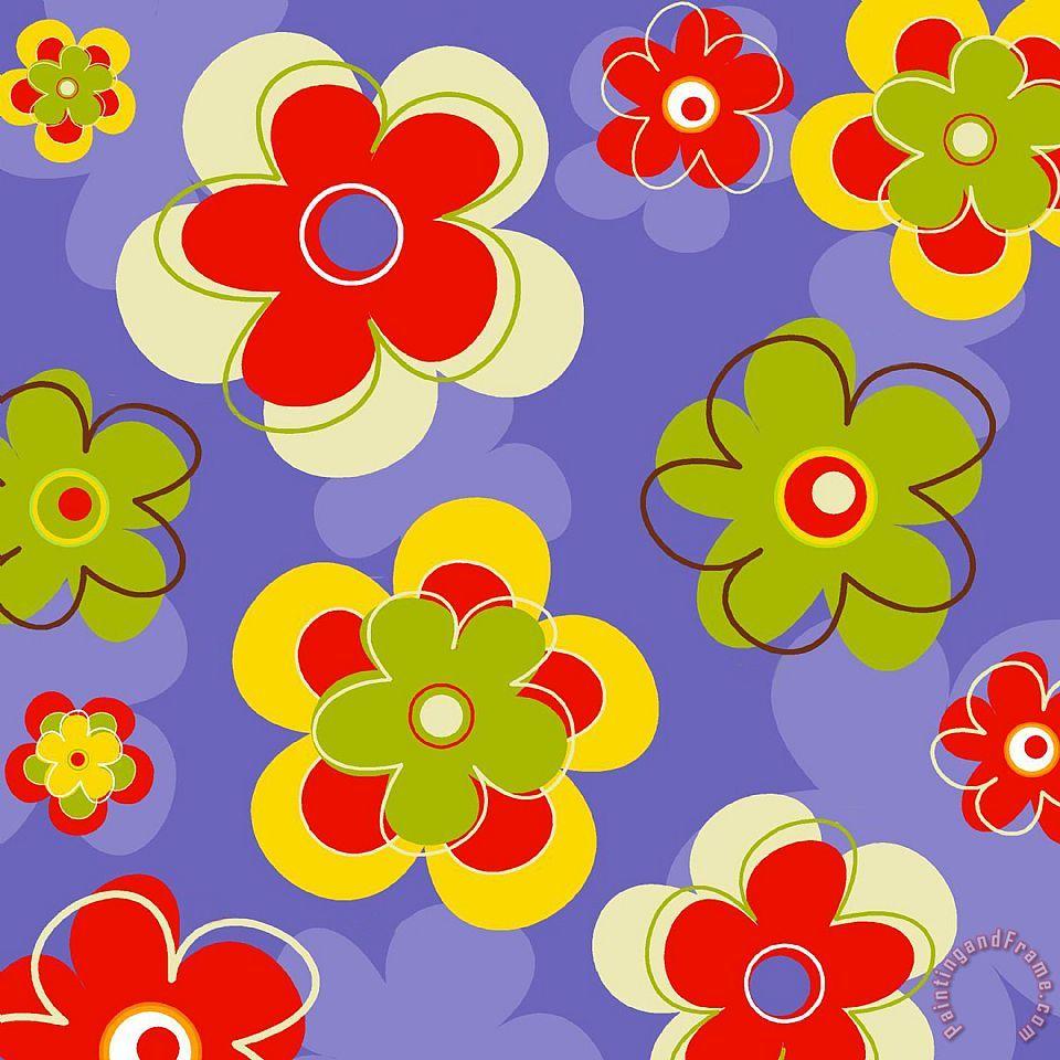 Esteban Studio Flower Pattern Painting Flower Pattern Print For Sale